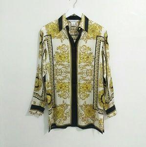 Paulo Santini Italian Silk Baroque Button Up Top